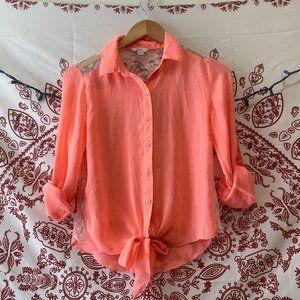 Orangey Blouse Lace Back